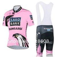 Wholesale Saxo Pink - Wholesale summer Saxo bank women's cycling Jersey sets with short sleeve bike shirt & (bib) short in cycling clothing