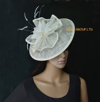 Wholesale Big Hats Feathers - Cream ivory Big Sinamay fascinator hat for Kentucky derby Wedding.