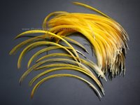 Wholesale Wholesale Fly Tying Feathers - Hand Selected Golden Pheasant Crest Feathers Natural Fly tying material;over 6.5cm 100 pcs,C20101
