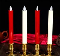 Wholesale Wholesale Timer Candles - Yellow Remote Flameless Moving Wick Led Taper Candles Long Red Dancing Timer Battery Operated Window Candles With Base