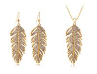 Wholesale Design Feather Earring - Fashion Christmas Holiday sale 18k Gold Plated Feather Design Rhinestone Austrian Crystal Jewelry Sets For Women Free Shipping