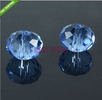 El envío gratuito! 140pcs azul claro del color CutFaceted Glass Beads.Crystal cristal Rondelle perlas Spacer Loose 8mm