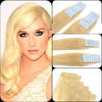 """Wholesale Hair Extensions Wholesale India - 613# Light Blonde 12""""-26"""" Skin Weft Hair Extension India Premium Remy Pu Tape In 20 Pcs 2.5g pc Real Natural Human Hair"""