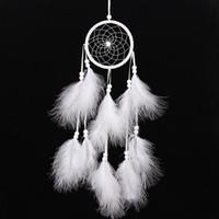 penas de pelúcia venda por atacado-Fluff Dreamer Dream Catcher Beads Pena Home Car Decoração Enfeites Cultural Collectibles