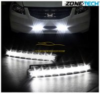 kit led blanco al por mayor-Nuevo White Car 12V DC Head Lámpara Daytime Running Light 8 LED DRL Daylight Kit envío gratis