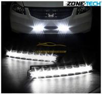 Wholesale Running Led - New White Car 12V DC Head Lamp Daytime Running Light 8 LED DRL Daylight Kit free shipping