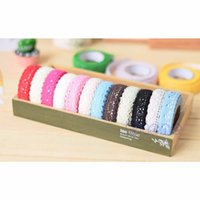 Wholesale Double Sided Cotton Adhesive Tape - Wholesale-Free Shipping Lace Pure Cotton Tape Double-sided Adhesive Deco Craft DIY Scrapbook Card Making