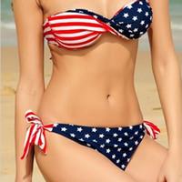 Wholesale tassel flag bikini for sale - Group buy hot Sexy Fashion Tassel Fringe American Flag Swimwear Padded Swimsuit Bathing Beach Suit Bikini set