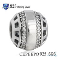 Wholesale Authentic Pandora 14k Gold - authentic logo charm in sterling silver with clear cubic zirconia pandora silver charms loose beads diy jewelry for thread bracelet DF733