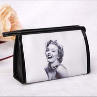 Wholesale Marilyn Monroe Bags - New Women Fashion Messenger Bags Women Leather Handbags Marilyn Monroe Printed Cosmetic Bags & Cases Three Type Makeup Bag