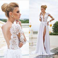 Wholesale Sleeve Lace Column Wedding Dress - 2015 Sexy Beach Wedding Dresses Sheer Lace Appliqued Long Sleeves Sheath V Neck Backless Split Chiffon Bridal Gowns White Evening Dress