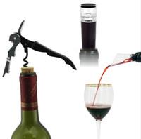 conjunto de bujão do abridor de garrafas de vinho venda por atacado-Abridor De Vinho Em Aço inoxidável Garrafa Rolha De Vácuo Pourer Vinho Garrafa de Vinho Conjunto de Presentes de Aniversário Venda Quente