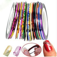 Wholesale Good Nail Colors - Rolls Striping Tape Line Nail Art Tips Decoration Sticker Mixed Colors Good Quality Beautiful Nail Stickers Hot Selling 30pcs