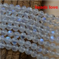 Wholesale Loose Moonstones - Pick Size 4.6.8 .10MMmm Natural Moonstone Stone Round Loose Beads Free Shipping-F00191