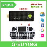 Wholesale Mini Pc 2g Keyboard Wifi - New MK809iii Mini PC Quad Core TV Box RK3188 Android 4.4.2 2G 8GB Bluetooth Wifi TV Player HDMI tv stick + Air mouse keyboard i8