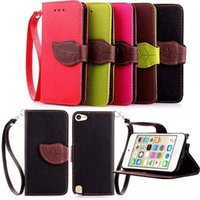 Wholesale Mobile Phone Leather Lanyard - High Quality Foliage Flip Wallet Leather Case for Apple iPod Touch iTouch 6 iTouch 5 Mobile Phone Cases Cover with Card Holder and Lanyard