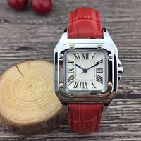 Wholesale Steel Grey Dress - Fashion women watches luxury brand 32mm Square dial Leather Strap dress quartz wrist watch for ladies girls female best gift Montre Femme