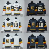 Wholesale Golden Yellow - 2018 Vegas Golden Knights 29 Marc-Andre Fleury Ice Hockey Jersey 18 James Neal Brank Men Women Youth Kids Stitched Gray Grey White