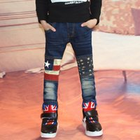 Wholesale Jeans Boys Feet - Wholesale-2015 Summer Contrast Color Star And Flag Pattern Elastic Waist Small Feet Open Full Length Boys Jeans