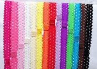 Wholesale Lacy Elastic - Free Shipping! 20ps lot Shimmery Stretchy Baby Lace Headbands,Lacy Frilly Hairbands,Hair Accessories,elastic headband for girls FD6507