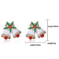 Wholesale Christmas Bells Earrings Stud Fashion Exquisite Diamond Rhinestone Stud Earrings mm Christmas Gift pairs