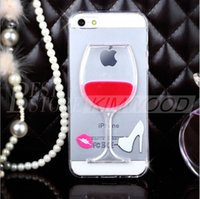 Hot Red Wine Cup Líquido Transparente Kickstand caso capa para iPhone 5 6 6s 7 mais Samsung S7 S6 borda casos