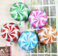 Wholesale Inflatable Candy - Wholesale-18 inch Lollipops Peppermint Candy Swirl helium Inflatable Air Foil Balloons Birthday Party Decoration Balloons 0519
