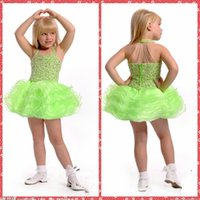 Wholesale Cheap Pageant Dresses Online - Hater Beaded Crystal Ball Gown Lovely Girls Pageant Dresses Short Mini Cascading Ruffles Green Flower Girls Dresses Cheap Online Formal Wear