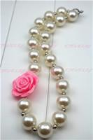 acryl rosenblüten perlen großhandel-Neuer Großhandelsweißer Perlen-Rosen-Blume klumpige Kaugummi-Halskette des kleinen Mädchens acrylicbeads CB021