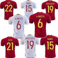 Wholesale Fabregas Shirt - Spain Euro jersey 2016 INIESTA RAMOS home red away white FABREGAS COSTA SILVA ISCO VAXI top quality spain football shirt soccer jersey