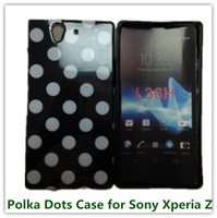 Wholesale Xperia Z Bag - 1PCS Drop Shipping Soft Polka Dots Wave Back Skin Cover Case for Sony Xperia Z L36h Cellphone Bags