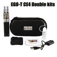 Wholesale Double Clearomizer - Ego t ce4 double starter kit 1.6ml ce4 atomizer clearomizer 650 900 1100mAh ego-t battery zipper case colorful