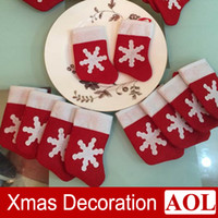 Wholesale Red Dinnerware - 12pcs Mini Christmas Stocking Dinnerware Cover Xmas tree Ornaments decoration New Year Gifts Free Shipping