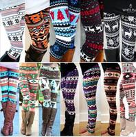 Wholesale Big Leg Pants - christmas Snowflakes Reindeer Printed Legging big girls Women spring autumn Tights Warm Stretchy Pants 15 DESIGN KKA3343