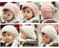 Wholesale toddler pink crochet hat resale online - Baby Hats Pom Poms Pink Knit Hat Girls Boys Beanie Winter Toddler kids Boy Girl Faux Warm Crochet Cap