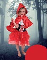 Wholesale Riding Hood Dress - New Little Red Riding Hood party dress headed shawl bags 3 pcs sets Children's Cosplay girls Halloween costumes kids party dress A6775