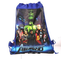 Wholesale cartoon string backpacks - 30pc lot new style Christmas Non-woven Avengers Backpacks Printed School bag shopping bag birthday Party Favors nice gift 3design J01