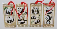 мода ремесел китай оптовых-Панда 4 комплекта закладок фарфора стиль перегородчатая металлическая медь украшены собирать ремесла мода Свадьба День Рождения пользу 10 комплектов / упак.
