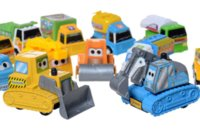 "Wholesale Excavator 12 - SET of 12 pcs Cute Engineering Pull Back Pixar Cars Figure Toy 2"" Truck Diecast Model Bulldozer Excavator Dump Mixer (12 Pieces)"