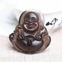Wholesale Iced Jade Pendants - Natural ice Obsidian Obsidian Pendant Maitreya Buddha Buddha Buddha belly laugh in the face of men and women lovers Pendant