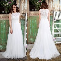 Wholesale Modify Dress - Wedding Gowns 2016 Beautiful Modified A-Line Beach Wedding Bateau Neckline Lace Bodice Tulle Skirt Lace Back Bridal Gowns Custom Made