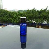 frascos de alumínio de óleo essencial venda por atacado-10ml verde vidro garrafa óleo essencial com tampa de alumínio preto brilhante. frasco de óleo, Essential Oil Container