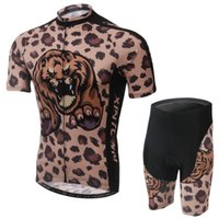 Gros-New 2015 Maillot manches Brown Leopard équipe Maillot cyclisme Vêtements court Et Cuissard Road Bike Wear Ciclismo Jersey Set