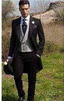 ingrosso migliori abiti da sposa uomini-Abito da uomo slim fit stile marinaro smoking smoking con visiera a picco Abito da sposo groomsman / best uomo matrimonio / prom dresses (giacca + pantaloni + cravatta + gilet) J990