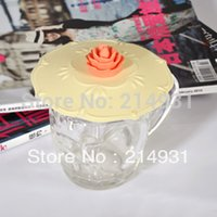 Etanche Tasse gros-Silicone Lid Cover Cap w / Rose Flower Leak Proof Airtight Cup Cap