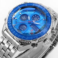 Wholesale Digital Watch Blue Lcd - SHARK LCD Display Stainless Steel Analog Dual Time Date Wristwatch Alarm Stopwatch Blue Dial Male Clock Men Sports Digital Watch   SH110