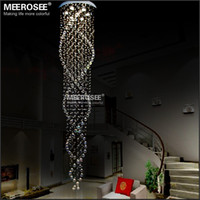 Wholesale Office Lobby Design - Long design Crystal Ceiling Light fixture spiral lustres light fitting flush mounted Crystal Stair foyer stairs lobby Lamp