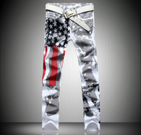 mais tamanho jeans venda por atacado-Forma dos homens quentes do desenhador homens jeans com asas bandeira americana plus size