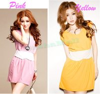 Wholesale Working Dress Fashion Korea - 1pcs Pcs Lot summer Mini Sweet Girdle Sleeveless Vest dress Fashion Two colors summer party Women's Korea Sexy 52