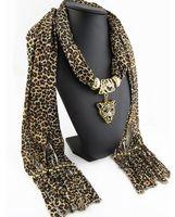 Wholesale Leopard Pendant Scarves - Fashion Leopard Polyester Scarf For Women Leopard Head Pendant Scarves Lady Jewelry Charm Scarfs Long Size